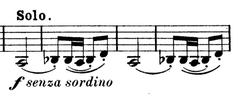 第3楽章冒頭のトレパークのリズム